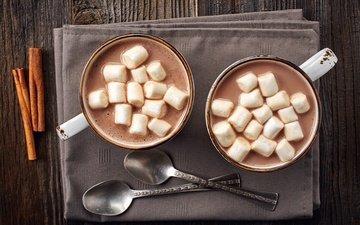 корица, чашки, зефир, какао, горячий шоколад, ложки, маршмеллоу