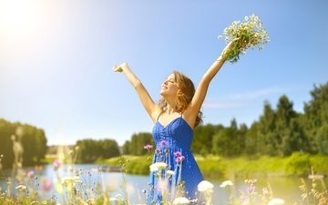 the sky, flowers, grass, trees, nature, greens, girl, dress, smile, summer, joy, chamomile, bouquet, river, closed eyes