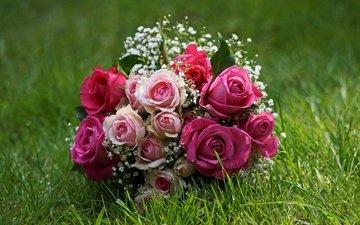 цветы, трава, розы, букет, свадебный букет, гипсофила