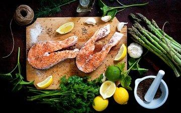 зелень, лимон, лайм, рыба, чеснок, морепродукты, петрушка, специи, спаржа
