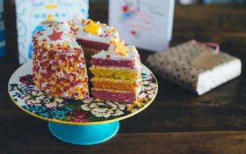 сладкое, украшение, торт, десерт, слои, крем