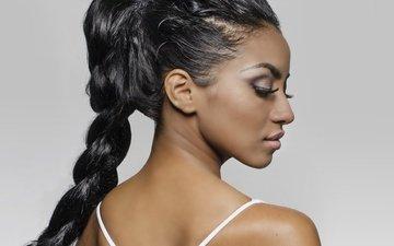 девушка, портрет, профиль, коса, макияж, черные волосы, мулатка