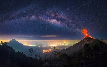the sky, night, lights, the city, the eruption, the volcano, the milky way, albert dros, guatemala, the volcano fuego, albert dros), antigua
