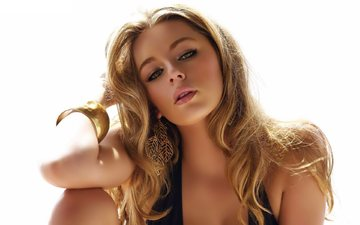 girl, blonde, look, model, hair, face, curls, earrings, keeley hazell