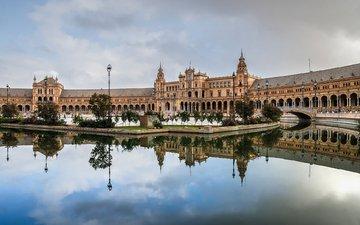 архитектура, дворец, испания, площадь, севилья