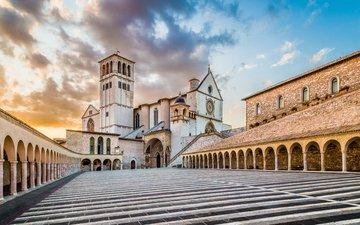 италия, церковь, монастырь, ассизи, базилика, сан-франческо