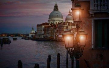 ночь, фонари, город, венеция, канал, италия