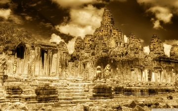 храм, камбоджа, храмовый комплекс, ангкор-ват, пномпень