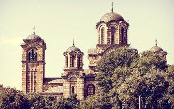 церковь, архитектура, сербия, церковь святого марка, белград