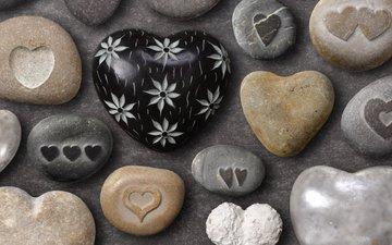 рисунок, камни, галька, цвета, фон, лето, форма, морские, любовь, сердечки, камушки, позитив
