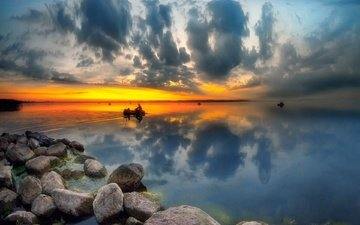 the sky, clouds, lake, stones, reflection, dawn, boats, haze, serge dombrowski