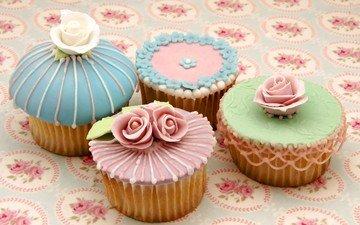 sweet, cakes, dessert, glaze, cupcakes, muffins