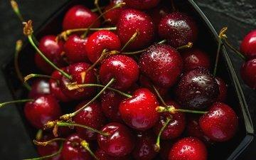фон, капли, черешня, ягоды, вишня, контейнер