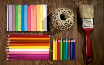 colorful, pencils, brush, crayons, colored pencils, wooden surface
