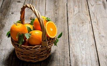 фрукты, апельсины, корзинка, цитрусы, деревянная поверхность