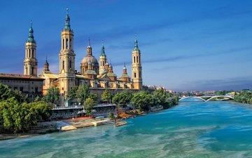 храм, испания, кафедральный собор, барокко, сарагоса, сарагоса. испания, нуэстра-синьора-дель-пилар