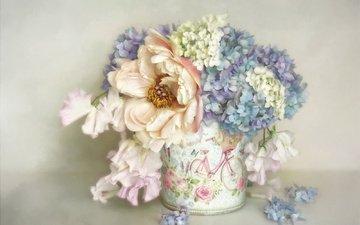 цветы, рендеринг, пионы, гортензия, кашпо