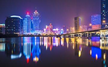 ночь, огни, отражение, город, китай, макао, seanpavonephoto-6