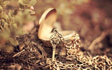 макро, ключ, размытость, кулон, цепочка, боке