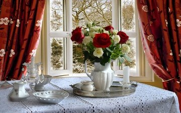 flowers, curtains, roses, table, room, bouquet, window, dishes, pitcher, tray, tablecloth