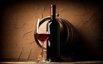 стена, бокал, вино, бутылка, подвал, бочка, красное вино, полка