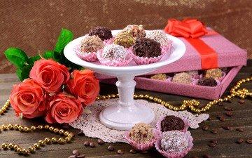 цветы, украшения, розы, конфеты, букет, бусы, кофейные зерна, десерт, композиция