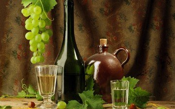 листья, виноград, бокал, вино, стакан, бутылка, кувшин, водка, натюрморт, композиция, рюмки
