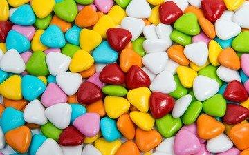 разноцветные, конфеты, сердечки, сладкое, десерт, леденцы, драже