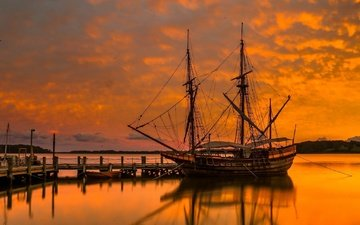 sunset, ships, mast, sails, sailboats