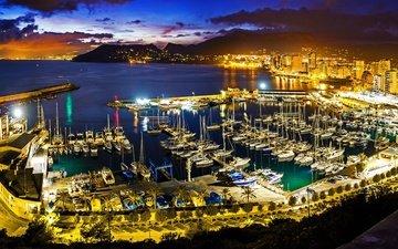 ночь, огни, корабли, город, монако, причалы, порты