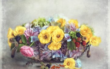 flowers, insect, mesh, berries, basket, blackberry, currants, pastel, lizzy pe