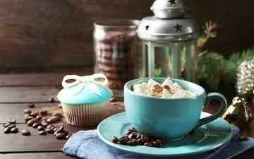 кофе, фонарь, чашка, кофейные зерна, выпечка, зефир, маршмеллоу, капкейк