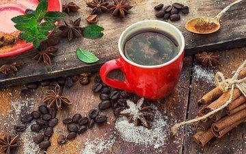 мята, корица, кофе, чашка, кофейные зерна, сахар, ваниль, бадьян