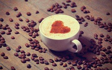 напиток, сердечко, кофе, чашка, кофейные зерна, капучино