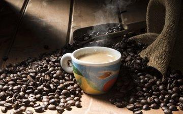 кофе, чашка, кофейные зерна, мешковина, совок