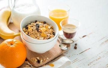 еда, кофе, апельсин, завтрак, молоко, банан, мюсли, сок, фреш