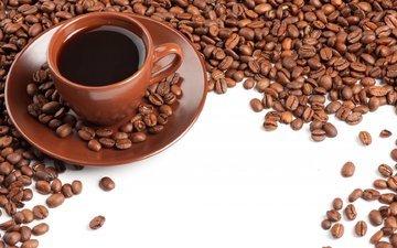кофе, блюдце, чашка, кофейные зерна