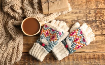 drink, coffee, mug, gift, gloves, scarf, wooden surface