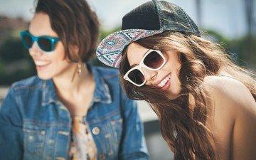 glasses, girls, hair, cap, laughter