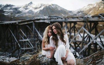 nature, girls, stone, white dress, friend, sitting