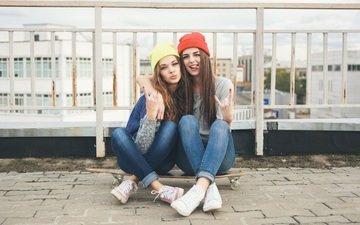 girls, street, sitting, skateboard, caps