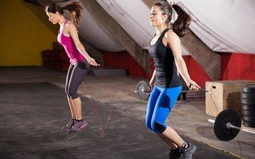 девушки, спорт, тренировка, скакалка