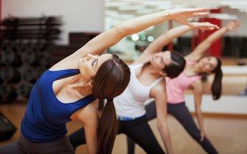 fitness, yoga, exercises, 3 girls