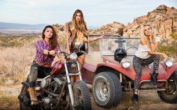 скалы, природа, блондинка, машина, брюнетка, девушки, авто, мотоцикл, модели, шатенка, подруги, dani mathers, chelsie aryn, maggie may, 3 девушки