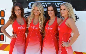 smile, girls, hair, face, advertising, red dress, fujitsu