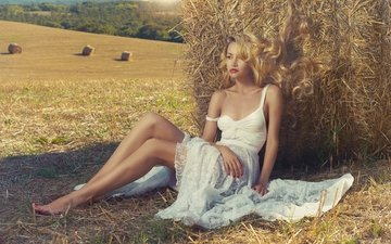 mood, dress, blonde, field, hay, model, feet, hair, curls, skirda