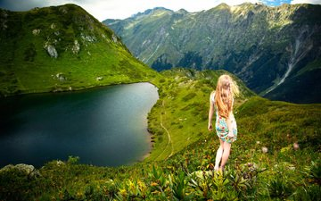 lake, mountains, nature, girl, landscape, dress, view, back, hair