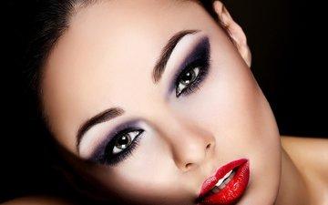 девушка, портрет, взгляд, модель, черный фон, губы, лицо, макияж, помада