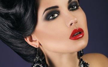 девушка, портрет, взгляд, модель, волосы, губы, лицо, макияж, прическа, сёрьги, красная помада