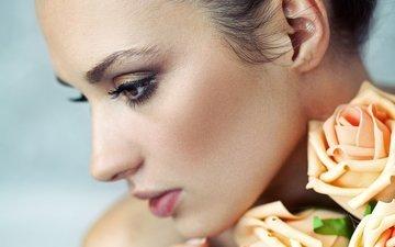 flowers, girl, portrait, look, model, profile, hair, lips, makeup, eyelashes